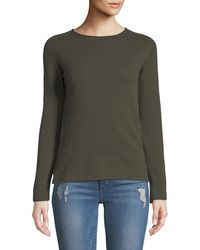 397fe806ee66 Neiman Marcus - Basic Cashmere Crewneck Pullover Sweater Green - Lyst