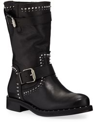 Charles David Whistler Studded Leather Moto Boots - Black