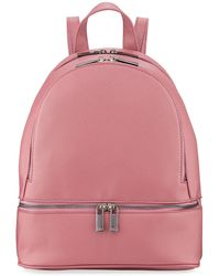 Neiman Marcus - Faux Saffiano Backpack With Rose-tone Hardware - Lyst
