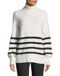 MICHAEL Michael Kors - Alpaca Wool-blend Striped Turtleneck Sweater - Lyst