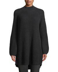 Lost + Wander - Rory Balloon-sleeve Waffle-knit Sweater Dress - Lyst