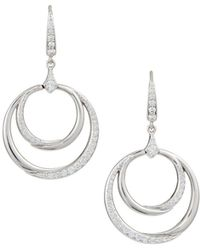 Penny Preville - 18k White Gold Diamond Double Crescent Circle Drop Earrings - Lyst