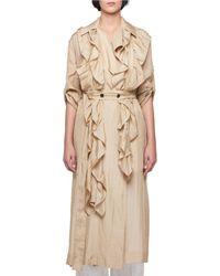 Victoria Beckham - Silk Habutai Belted Long Ruffled Trench Coat - Lyst