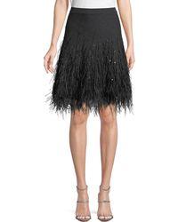 Michael Kors - Cashmere Skirt W/ Ostrich Feather Hem - Lyst