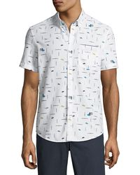 Original Penguin - Men's Paintbrush-print Short-sleeve Button-front Casual Shirt - Lyst