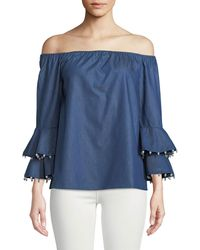 Metric Knits - Off-the-shoulder Chambray Pearl-trim Blouse - Lyst