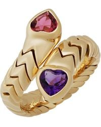 BVLGARI | Serpenti 18k Double-heart Gemstone Bypass Ring | Lyst