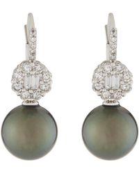 Belpearl - 18k Tahitian Pearl & Diamond Drop Earrings - Lyst