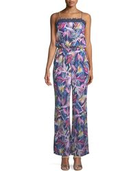 Laundry by Shelli Segal - Floral-print Lace-trimmed Jumpsuit - Lyst