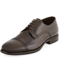 Armani - Glossy Leather Lace-up Oxford - Lyst