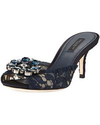 fe5b9fdcb Dolce   Gabbana - Keria Jeweled Lace Low-heel Slide Sandals Navy - Lyst