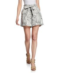 Neiman Marcus - Self-tie Printed Flared Shorts - Lyst