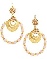 Jose & Maria Barrera - Beaded Hoop Earrings Pink - Lyst