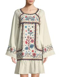 Leon Max - Embroidered Long-sleeve Gauze Mini Dress - Lyst