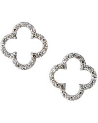 KC Designs 14k White Gold Diamond Open Clover Earrings