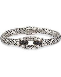 John Hardy - Kali Silver Lava Station Bracelet W/ Black Sapphire Pave - Lyst