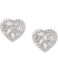 Roberto Coin - 18k White Gold Diamond Heart Stud Earrings - Lyst
