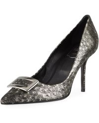 Roger Vivier - Decollette Privilege Ostrich Leather Pumps - Lyst
