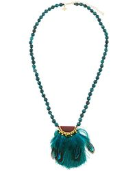 Panacea - Beaded Feather Pendant Necklace - Lyst