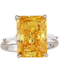 Fantasia by Deserio - Emerald-cut Cz Canary Ring - Lyst