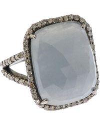 Bavna - Silver Square Ring With Multicolour Sapphire & Diamonds Size 6 - Lyst