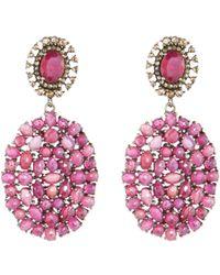 Bavna - Mixed Glass Ruby Drop Earrings - Lyst