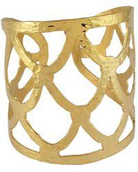 Devon Leigh - Textured Golden Cuff Bracelet - Lyst