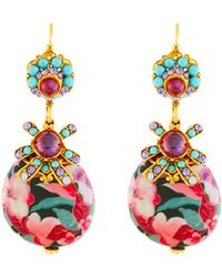 Jose & Maria Barrera - Crystal & Floral Découpage Drop Earrings - Lyst