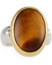 Gurhan - Galapagos Oval Stone Ring In Tiger's Eye Size 6.5 - Lyst