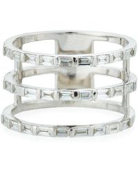 EF Collection - 14k White Gold Diamond Baguette 3-spiral Ring Size 7 - Lyst