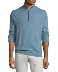Neiman Marcus - Men's Cashmere Suede-piped Mock-neck Sweater - Lyst