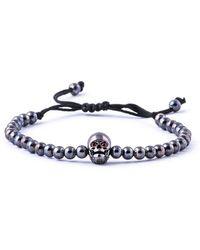 Jared Lang - Men's Beaded Cord Bracelet W/ Red-eyed Skull - Lyst
