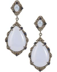Bavna Chalcedony and Diamond Pointed Oval Drop Earrings VnBK9G0xrW
