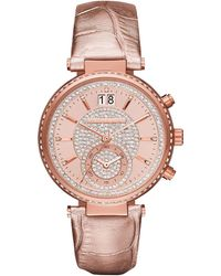 MICHAEL Michael Kors - Sawyer Pave Crystal Sport Watch W/ Leather Strap - Lyst