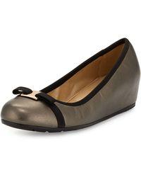 Neiman Marcus - Adelia Leather Hidden-wedge Pump - Lyst