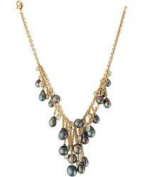 Assael   18k Layered Tahitian Pearl & Moonstone Drop Necklace   Lyst