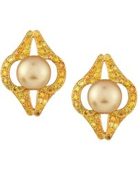 Assael - 18k Golden South Sea Pearl & Diamond Button Earrings - Lyst