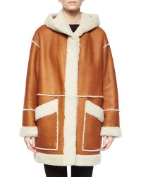 Goes - Hooded Leather Coat W/ Shearling Fur Trim - Lyst