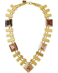 Ashley Pittman - Horn & Hammered Bronze Necklace W/ Zultanite & Pink Amethyst - Lyst