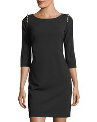 Neiman Marcus - Pearlescent-shoulder Sheath Dress - Lyst
