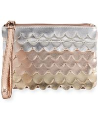 Neiman Marcus - Charging Metallic Leather Scallop Wristlet - Lyst