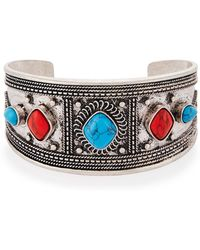 Lydell NYC - Carved Mixed-cabochon Cuff Bracelet - Lyst