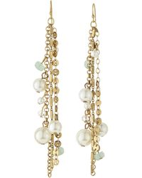 Lydell NYC - Golden Beaded Tassel Earrings - Lyst