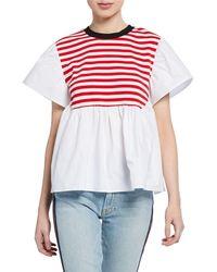 English Factory - Short-sleeve Striped Poplin Top - Lyst