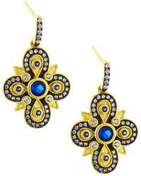 Freida Rothman - Clover Drop Earrings Blue - Lyst