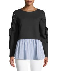 Nicole Miller - Lace-up Sweatshirt With Woven Hem - Lyst