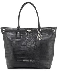 Versace Jeans - Faux-leather Croc-embossed Large Tote Bag - Lyst