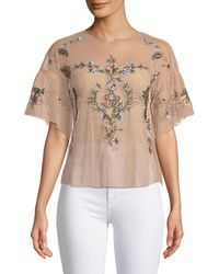 Dex - Embroidered Mesh Short-sleeve Blouse - Lyst