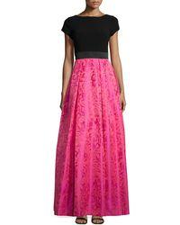 THEIA - Cap-sleeve Ball-skirt Gown - Lyst