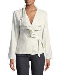 Neiman Marcus - Ruffled-linen Wrap Jacket - Lyst